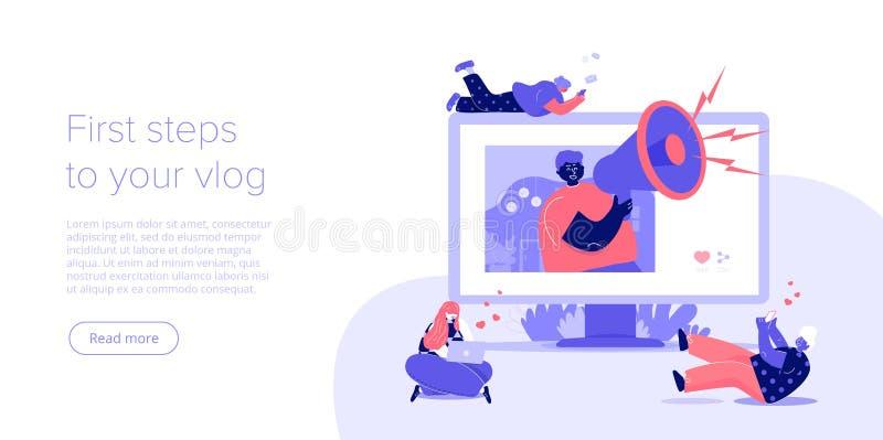 Ogólnospołeczny medialny bloga lub vlog pojęcie w płaskim wektorowym ilustracyjnym projekcie Młody blogger z megafonem dostaje in ilustracja wektor