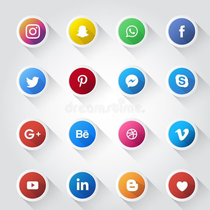 Ogólnospołeczny medialny ikona projekta szablon royalty ilustracja