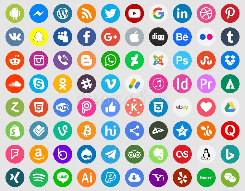 Ogólnospołeczny medialny ikona set ilustracja wektor