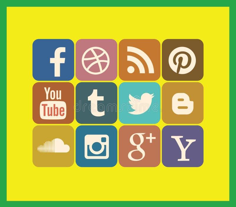 Ogólnospołeczny medialny ikona set ilustracji