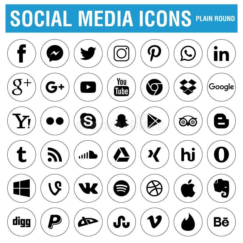 Ogólnospołeczny Medialny ikony czerń ilustracja wektor
