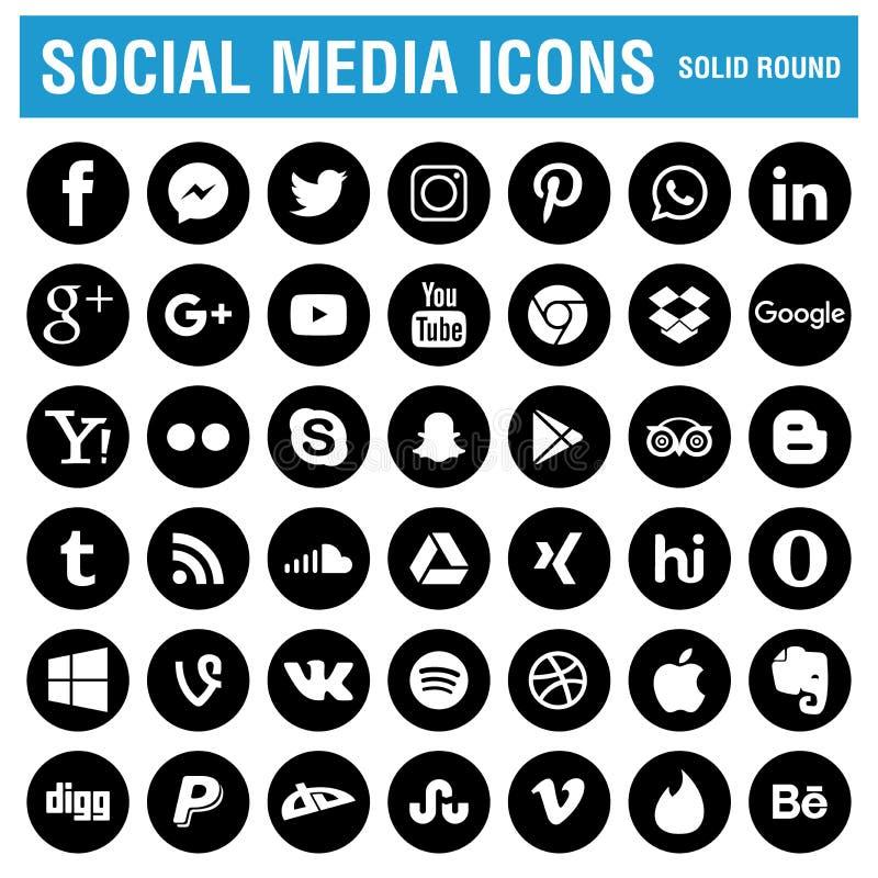 Ogólnospołeczny medialny ikony czerń round royalty ilustracja