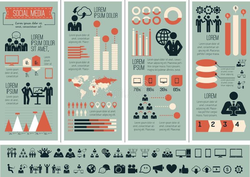 Ogólnospołeczny Medialny Infographic szablon. royalty ilustracja