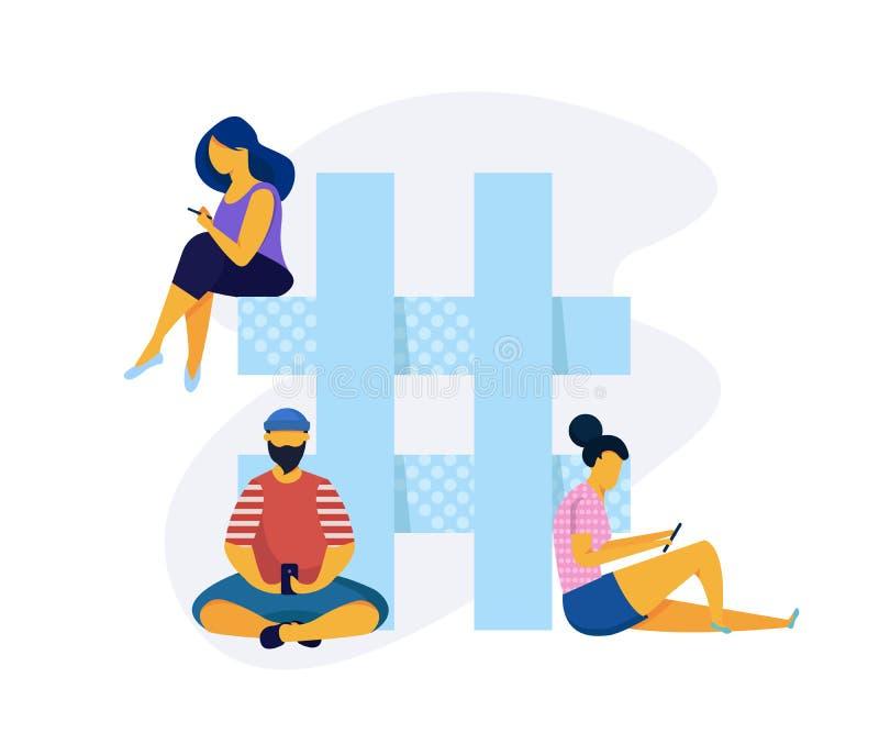 Ogólnospołeczny medialny isometry pojęcie z ludźmi Hashtag płaski wektorowy pojęcie Ludzie z smartphones siedzą na hashtag znaku royalty ilustracja