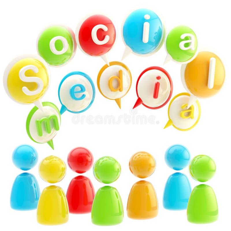 Ogólnospołeczny medialny kolorowy glansowany emblemat odizolowywający royalty ilustracja