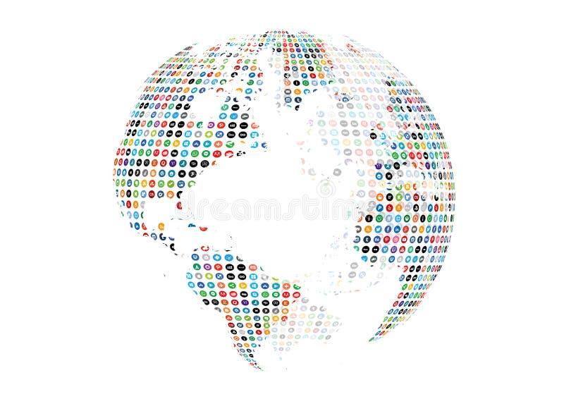 Ogólnospołeczny Medialny kuli ziemskiej tło ilustracji