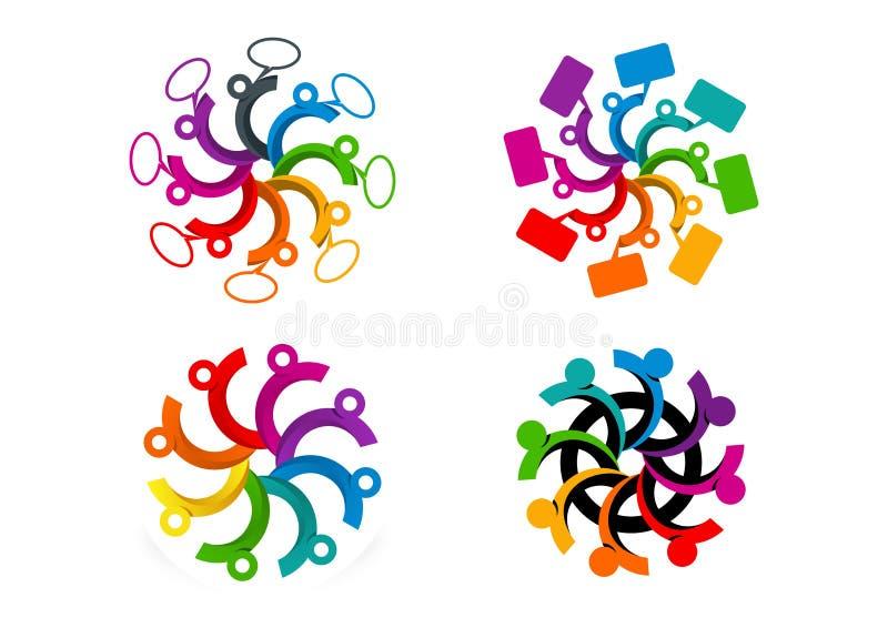 Ogólnospołeczny medialny logo, drużyna z mowa bublles symbolem, komunikacyjny pojęcie projekt ilustracja wektor