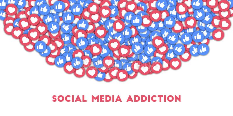 Ogólnospołeczny medialny nałóg Ogólnospołeczne medialne ikony w abstrakcjonistycznym kształta tle z rozrzuconymi aprobatami i ilustracja wektor