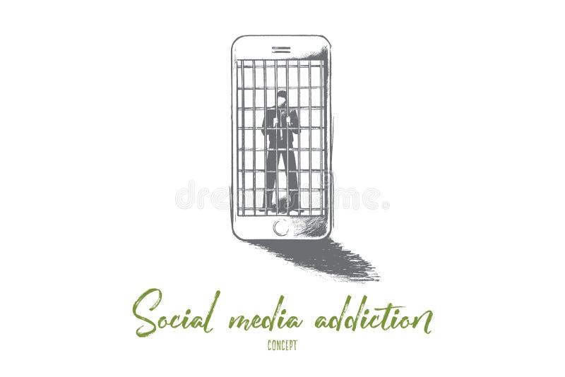 Ogólnospołeczny medialny nałogu pojęcie Ręka rysujący odosobniony wektor ilustracja wektor