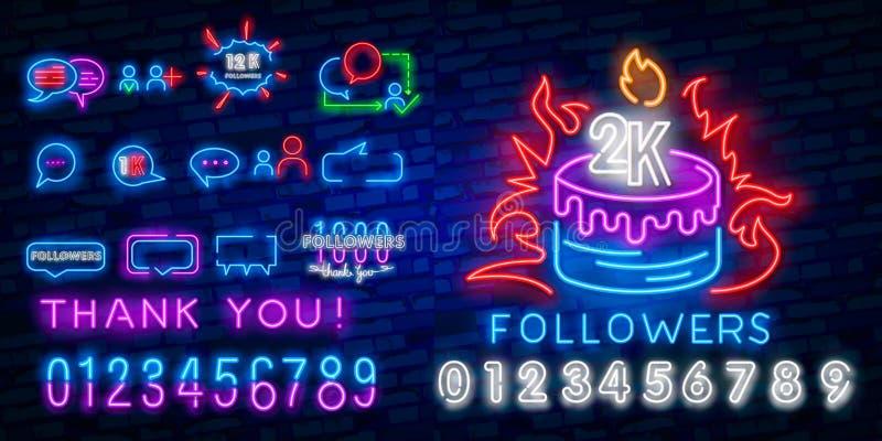Ogólnospołeczny Medialny neonowego znaka projekta wektorowy szablon Blogging neonowy logo, lekkiego sztandaru projekta elementu n ilustracji