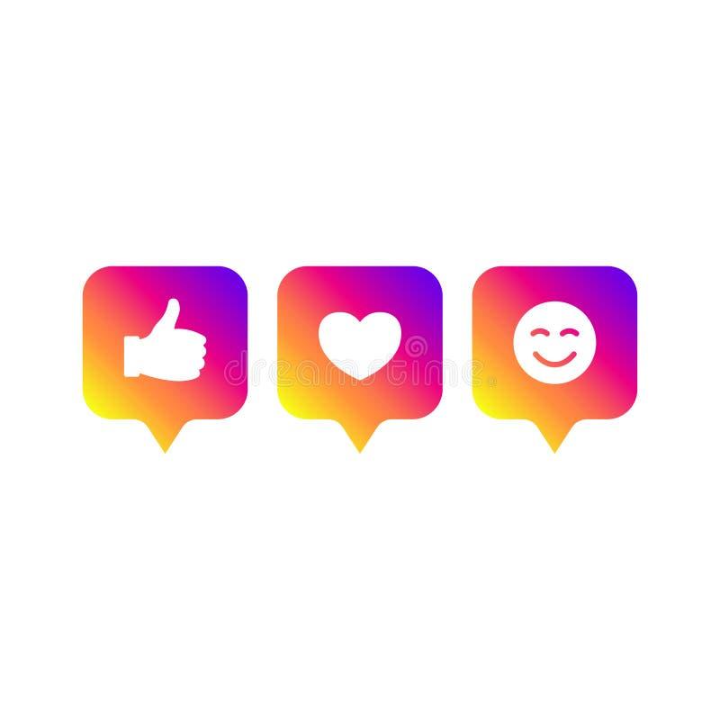 Ogólnospołeczny medialny nowożytny jak 1, zwolennik 1, komentarza 1 gradientowy kolor Jak, zwolennik, komentarza guzik, ikona, sy royalty ilustracja
