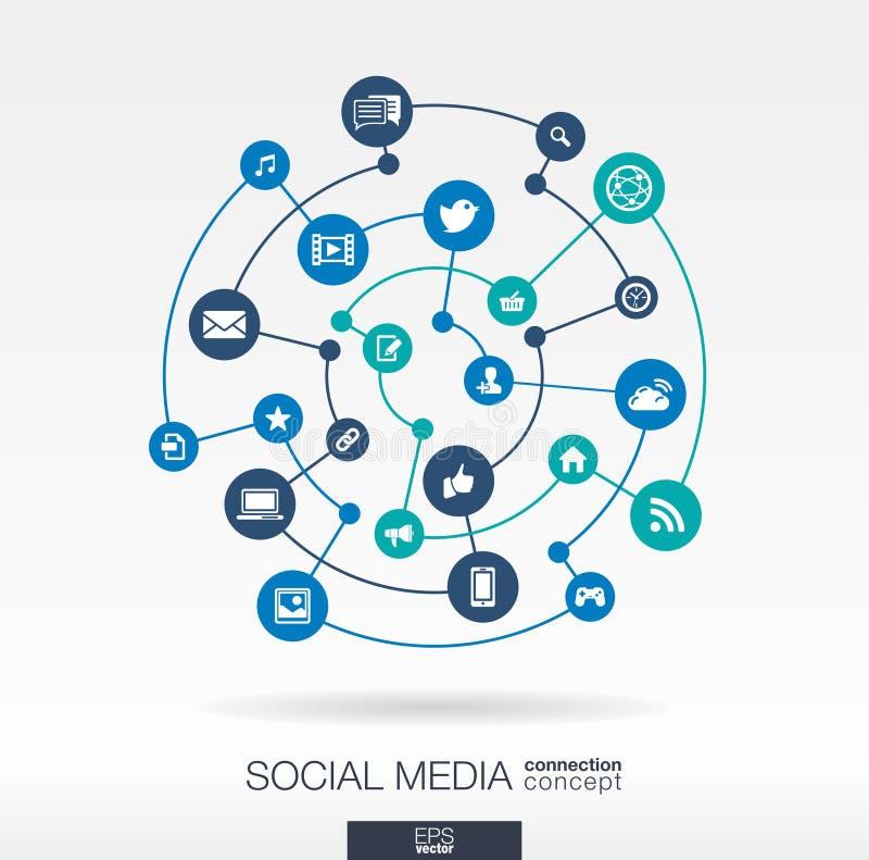 Ogólnospołeczny medialny podłączeniowy pojęcie Abstrakcjonistyczny tło z zintegrowanymi okręgami i ikonami dla sieci technologii  royalty ilustracja
