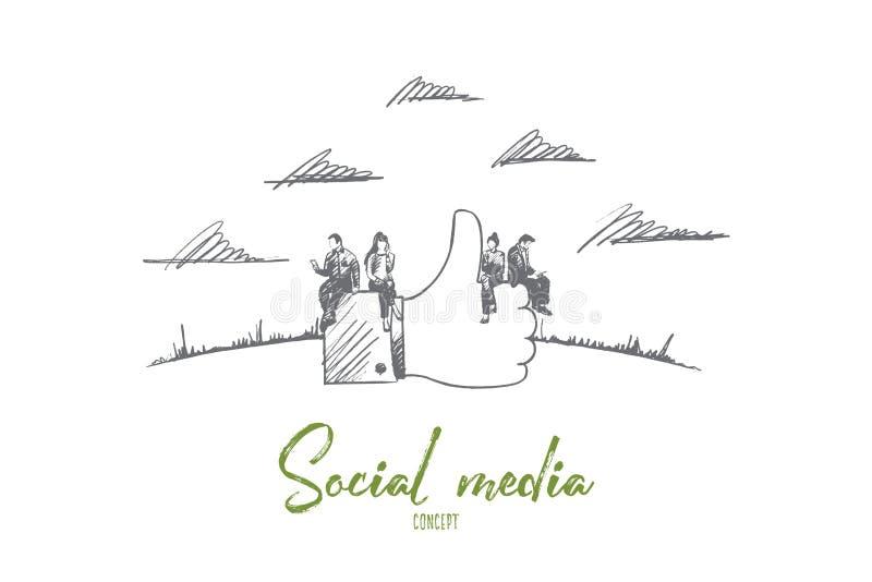 Ogólnospołeczny medialny pojęcie Ręka rysujący odosobniony wektor ilustracji