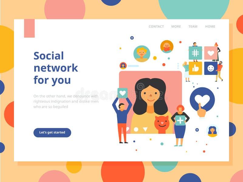 Ogólnospołeczny medialny pojęcie sztandar ilustracja wektor