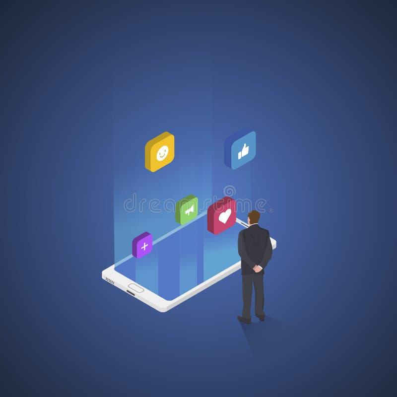 Ogólnospołeczny medialny pojęcie z charakterem Ogólnospołeczni iconss Płaska isometric wektorowa ilustracja Akcyjny wektor ilustracja wektor