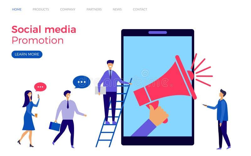 Ogólnospołeczny medialny promocyjny lądowanie strony wektoru szablon ilustracji