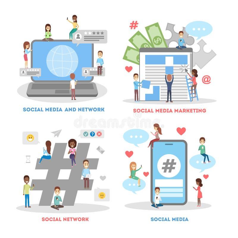 Ogólnospołeczny medialny sieć sztandaru set reklamowy marketing ilustracja wektor