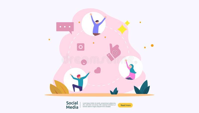 Ogólnospołeczny Medialny sieci i influencer pojęcie z młodzi ludzie charakteru w mieszkaniu projektuje ilustracyjny szablon dla s ilustracji
