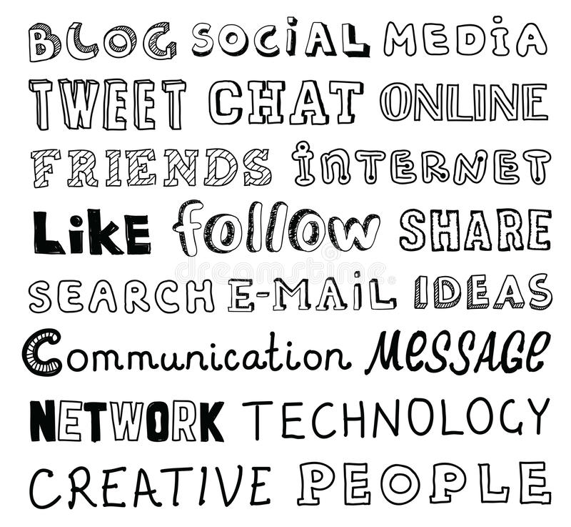 Ogólnospołeczny medialny wektorowy nakreślenie tekst ilustracja wektor