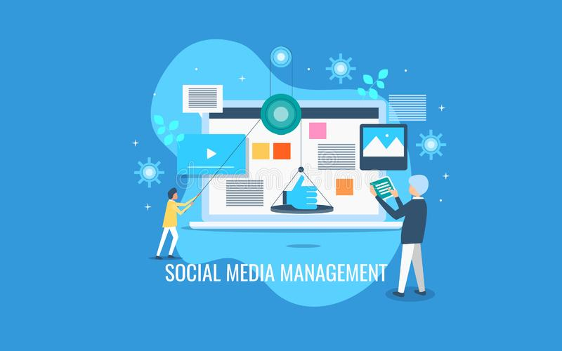 Ogólnospołeczny medialny zarządzanie, biznesmeni kieruje zawartość dla ogólnospołecznej sieci, online zadowolona promocja royalty ilustracja