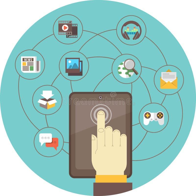 Ogólnospołeczny networking pastylką royalty ilustracja
