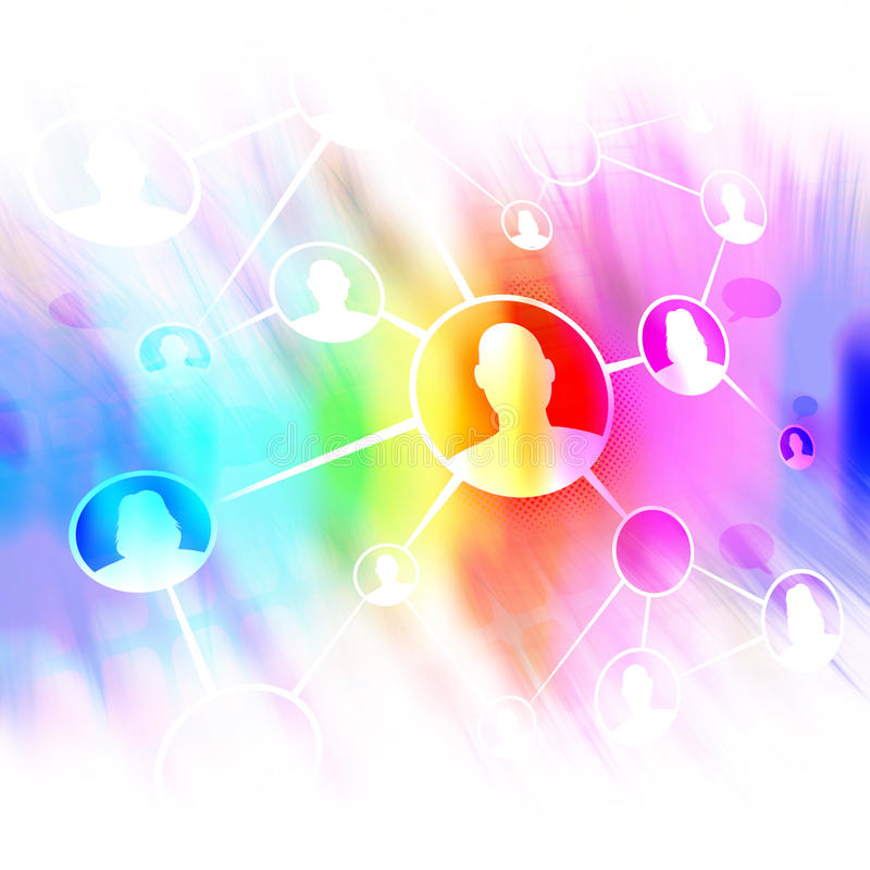 Ogólnospołeczny networking przyjaciół diagram royalty ilustracja