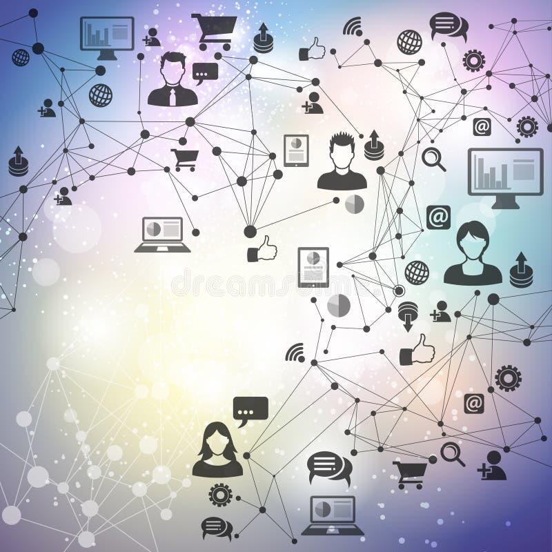 Ogólnospołeczny networking technologii tło ilustracji