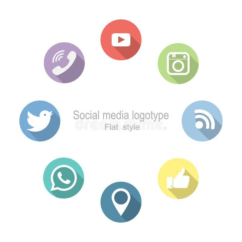 Ogólnospołeczny networking ustawić symbole również zwrócić corel ilustracji wektora Mieszkanie styl royalty ilustracja