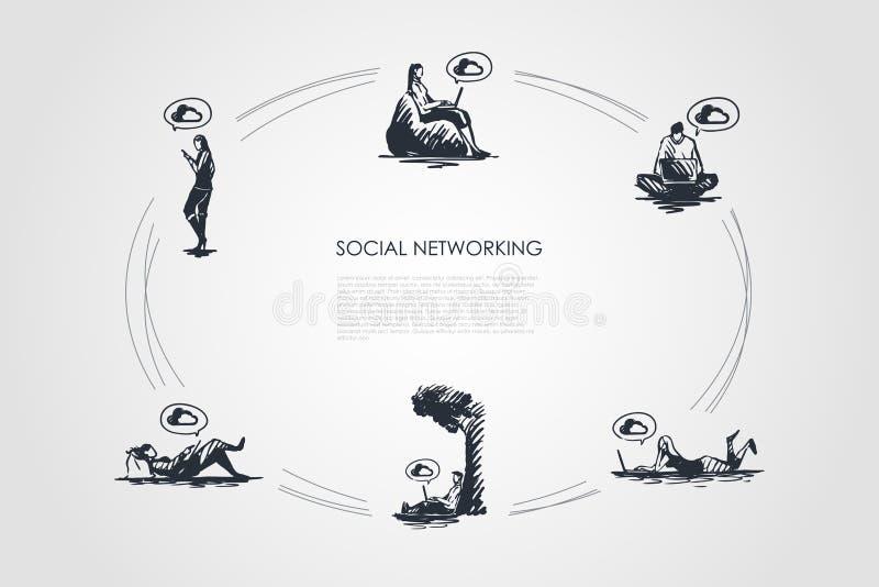 Ogólnospołeczny networking - zaludnia działanie na laptopach i używać smartphones wektorowego pojęcie ustawia royalty ilustracja
