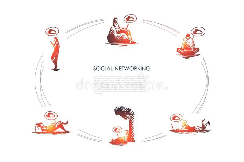 Ogólnospołeczny networking - zaludnia działanie na laptopach i używać smartphones wektorowego pojęcie ustawia ilustracji