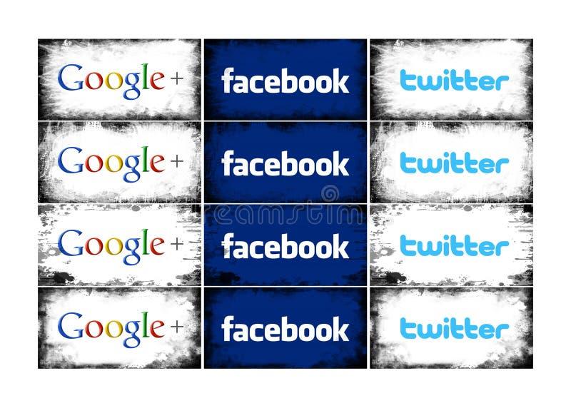 Ogólnospołeczny sieć logo w różnorodnych ramach ilustracja wektor