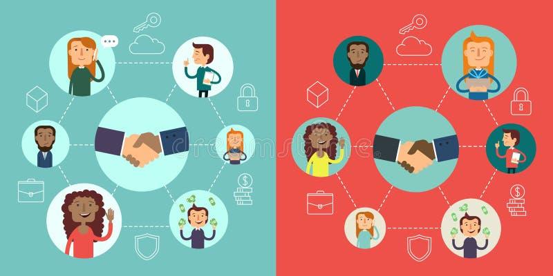 Ogólnospołeczny sieć wektoru pojęcie Płaska projekt ilustracja dla stron internetowych Infographic projekt Systemy Komunikacyjni  ilustracji