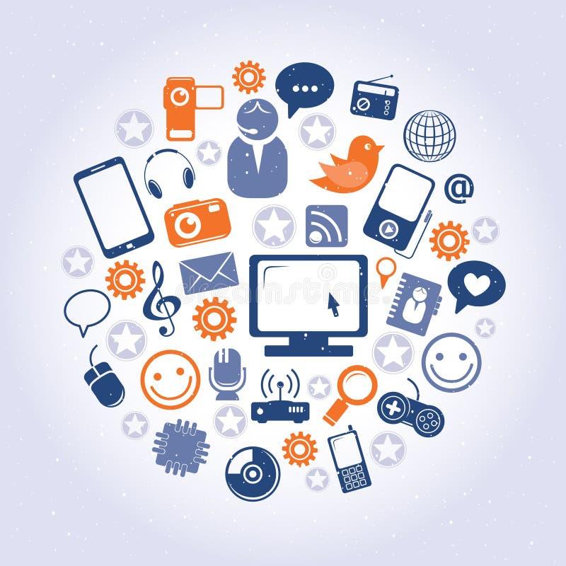 Ogólnospołeczny sieć wzór ilustracji