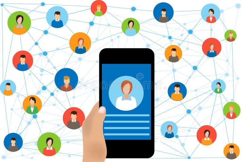 Ogólnospołeczny sieć związek dla online biznesu royalty ilustracja