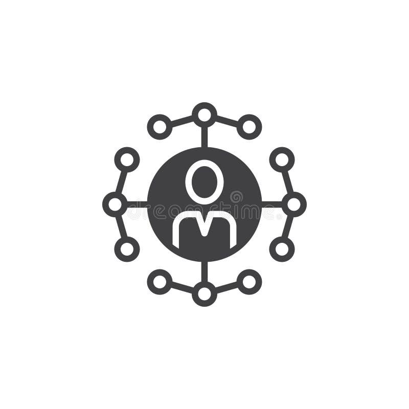 Ogólnospołeczny sieć związków ikony wektor, wypełniający mieszkanie znak, bryła ilustracji
