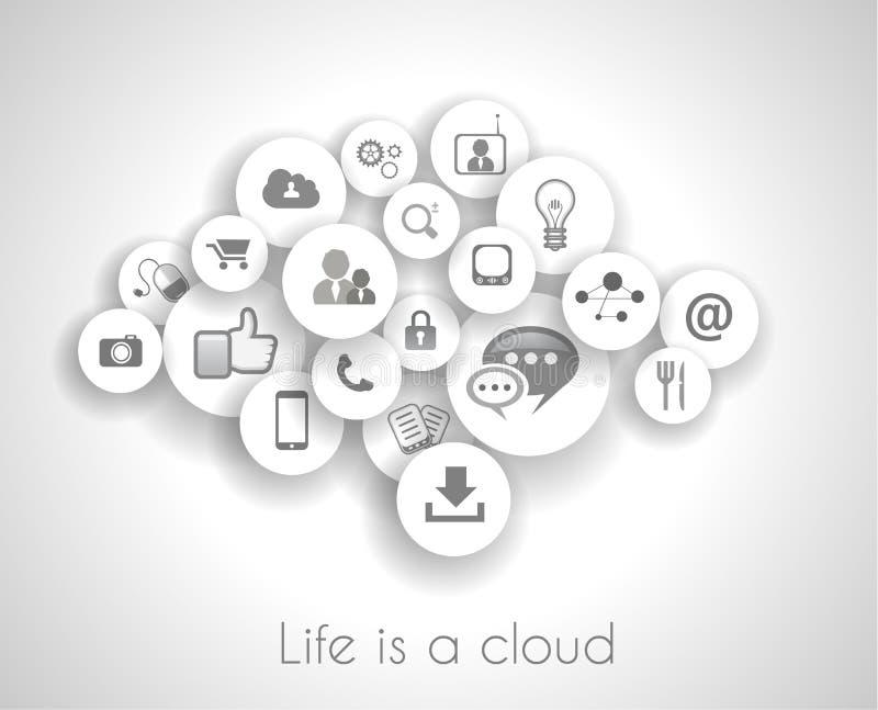 Ogólnospołeczny sieci życia pojęcie z obłoczny odniesienie. ilustracji