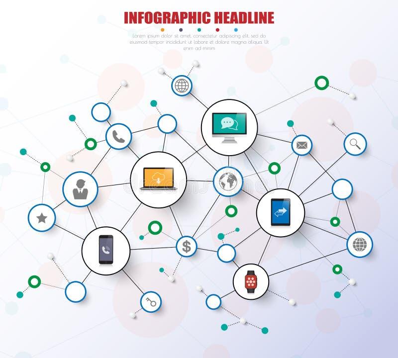 Ogólnospołeczny sieci infographics z ikonami ustawiać wektor ilustracja royalty ilustracja