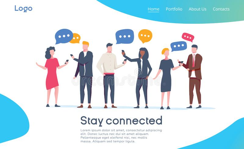 Ogólnospołeczny sieci lądowania strony szablon Grupa młodzi ludzie charakterów Gawędzi Używać Smartphone dla strony internetowej  royalty ilustracja