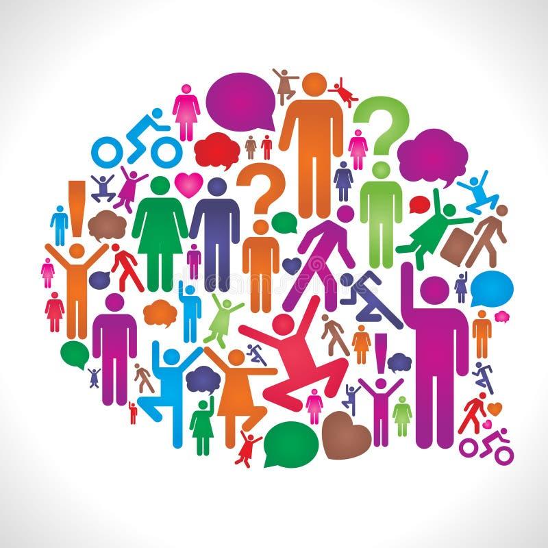 Ogólnospołeczny Sieci Statusu Bąbel ilustracji