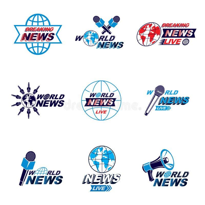Ogólnospołeczny zawiadomienie logo, emblematy i ulotki inkasowi, Vecto ilustracji