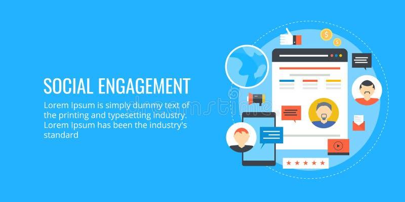 Ogólnospołeczny zobowiązanie ogólnospołeczny networking - influencer marketing - Płaski projekta wektoru sztandar ilustracja wektor