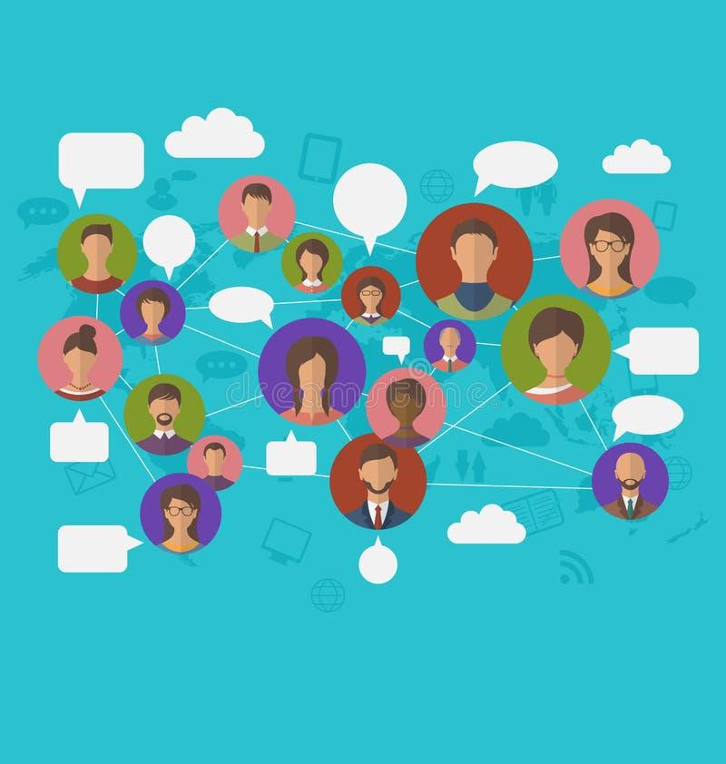 Ogólnospołeczny związek na światowej mapie z ludźmi ikon ilustracja wektor