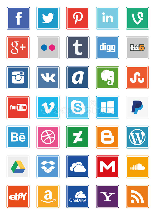 Ogólnospołecznych środków Kwadratowe ikony ilustracja wektor