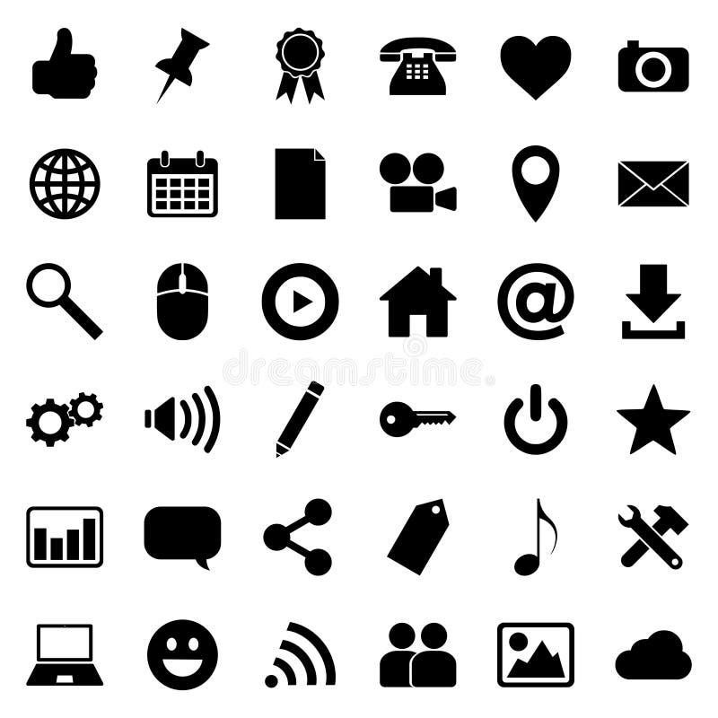 Ogólnospołecznych medialnych ikon duży set ilustracji