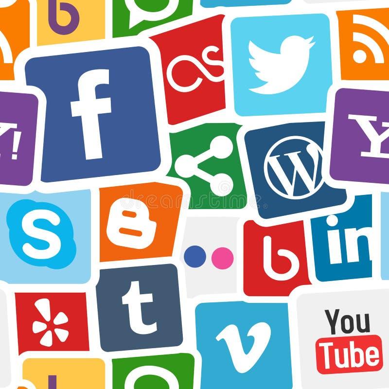 Ogólnospołecznych Medialnych ikon Kolorowy tło royalty ilustracja