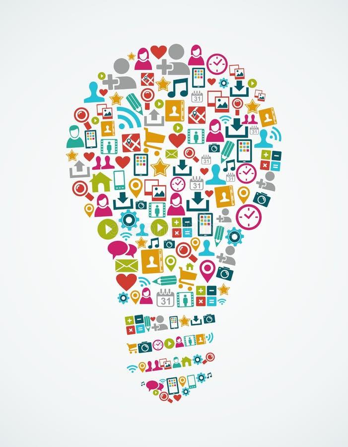 Ogólnospołecznych medialnych ikon pomysłu odosobniona żarówka EPS10  royalty ilustracja