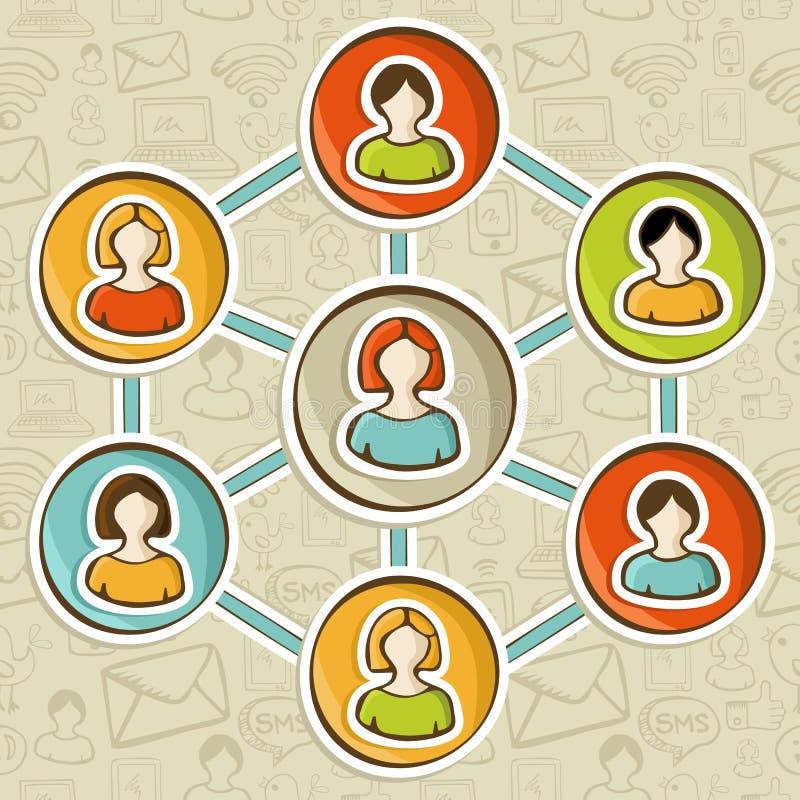 Ogólnospołecznych sieci online marketingowa interakcja ilustracja wektor