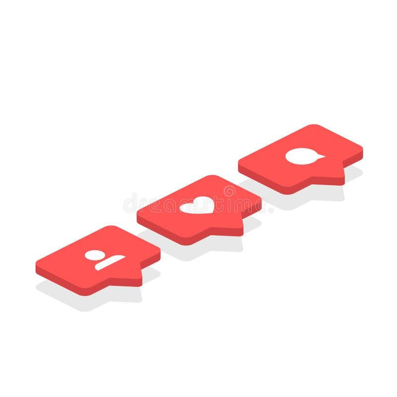 Ogólnospołecznych sieci ratingowych ikon aprobat isometric ikona, kierowy symbol, Nowy zwolennika set Płaski projekt Wektorowi og royalty ilustracja