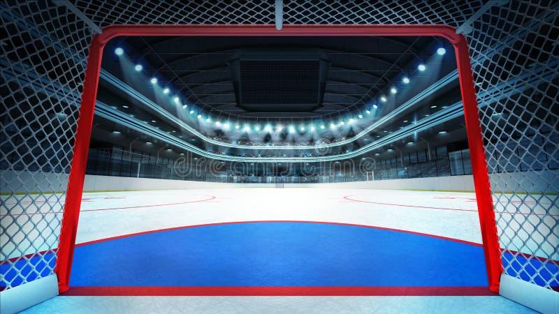 Ogólny hokejowy stadium widok wśrodku celu ilustracji