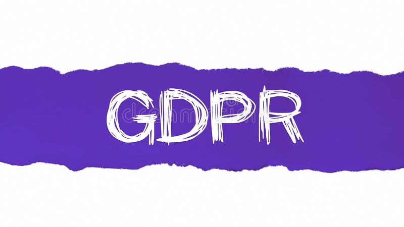 Ogólny ochrona danych przepis GDPR pojawiać się za rozdzierającym błękitnym papierem ilustracja wektor